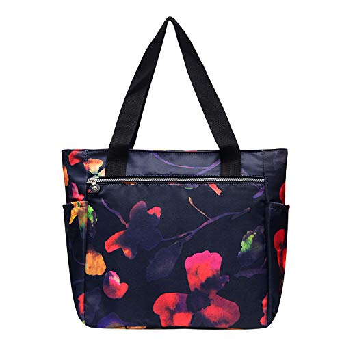 Nylon Large Lightweight Gym Bag Tote Bag Shoulder Bag for Gym Hiking Picnic Travel Beach Waterproof Tote Bags (AutumnLeaf TB)