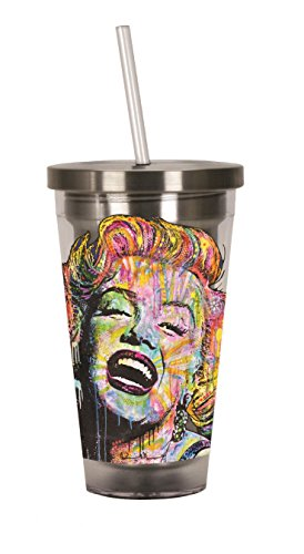 Spoontiques Dean Russo Marilyn Monroe Stainless Steel Cup with Straw, , Multi (Marilyn Monroe Cup compare prices)