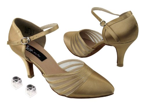 Ladies Women Ballroom Dance Shoes from Very Fine CD6033M with HP 2.75'' Heel (6.5, Tan Satin)