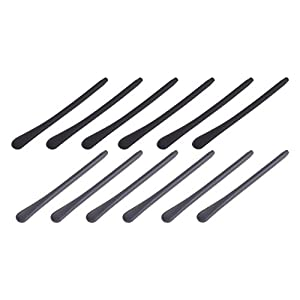 BCP 6pairs Silicone Eyeglass End Tips Ear Sock Pieces Tube Replacement for Thin Metal Eyeglass Legs (Black + Gray)