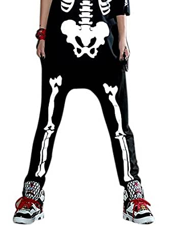 Women Baggy Harem Shiny Bones Print Pants Hiphop Trousers Onesize