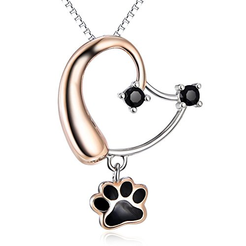 (Animal Jewelry) S925 Sterling Silver Rose Gold Cute Puppy Dog Head Paw Womens Heart Pendant Necklace