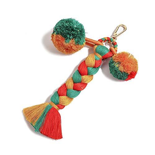 Colorful Boho Pom Pom Tassel Bag Charm Key Chain (R01 style)