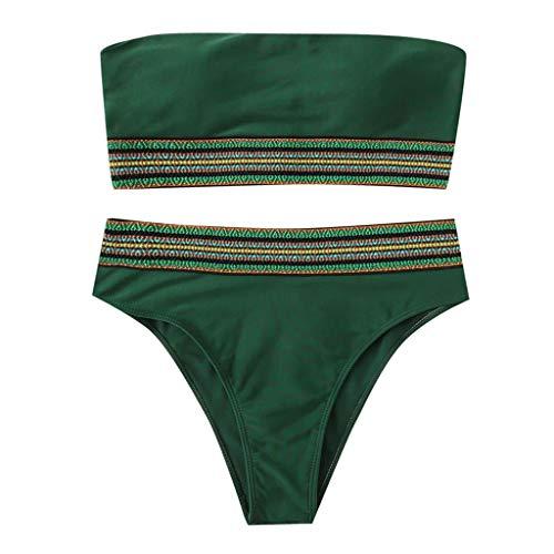 Pengy Women Stripe Pad Up Bikini Two Pieces Bikini Sets Lady Sexy Push-Up Swimsuit Swimwear Beachwear Green