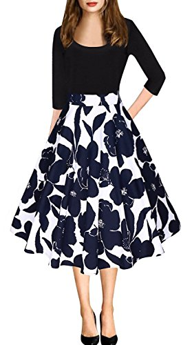 Aliling Women's Elegant A Line Scoop Neck Floral Print Swing Casual Party Dress (S, Blue Floral) -