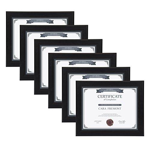 DesignOvation Kieva Solid Wood Document Frames, Black 8.5x11, Pack of 6