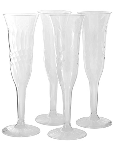 Disposable Champagne Flutes - 96 Pcs Fancy Crystal Cut Hard Plastic 5.5oz Clear Champagne Glasses - Party Stemware Cocktail Drinking Glass Wine Goblets for Wedding, Christmas, Birthday & All Occasions