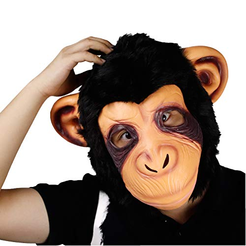 molezu Monkey Mask, Halloween Costume Party Animal Gorilla Head Mask, Adult Chimp Mask Black]()