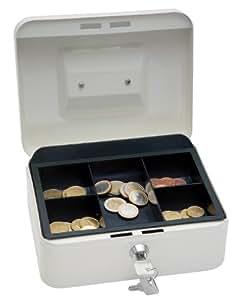 Wedo 200X - Caja metálica para dinero (2 llaves, soporte para monedas desprendible, acero soldado, tamaño 2), color blanco