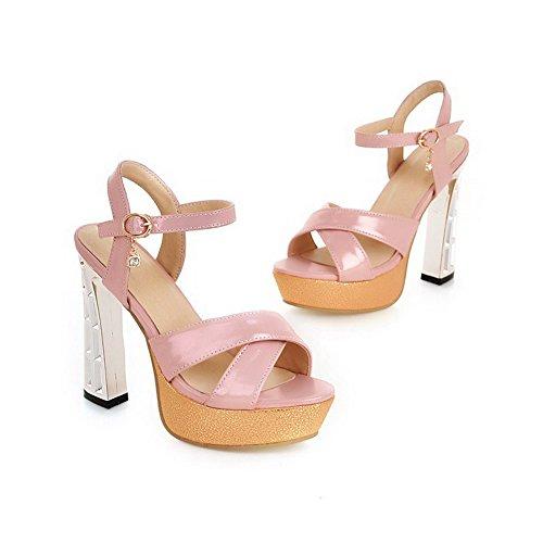 Hebilla suave para Material abierta Rosa punta de altos Sandalias de mujer surtido Tacones color AllhqFashion wqAYpY
