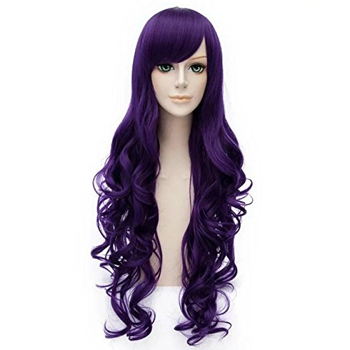 Long Curly Hair 80cm Women Girls Daily Basic Style Heat Resistant Cosplay Wig (Purple) (Daily Costume)