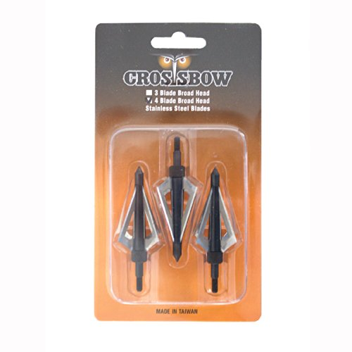 4-blade Hunting Broadheads for Crossbow Arrows - 3/pack