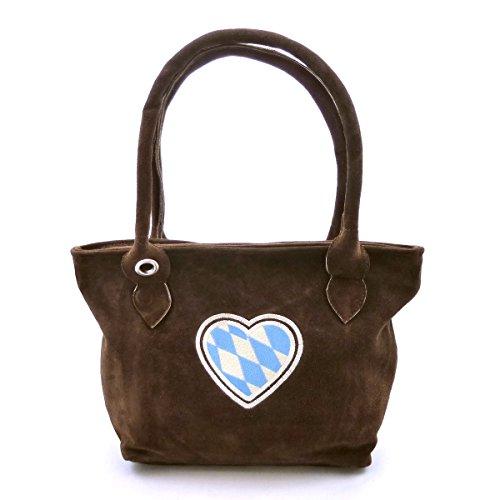 Dunkelbraune Trachtentasche Dirndltasche echt Leder mit Stickerei Herz weiss-blau