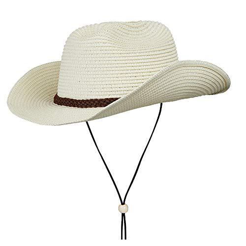 Straw Cowboy Hat,Summer Beach Sun Hats Men & Women Western Wide Curved Brim Fedora with Adjustable Chin Strap UPF50+ (L(7 1/4-7 3/8), A1-Beige) ()