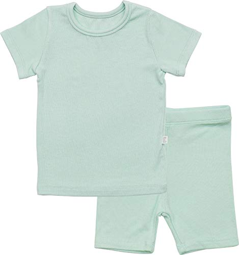 (AVAUMA Newborn Baby Little Boys Snug-Fit Pajamas Summer Short Sets Pjs Kids Clothes (M/Mint))