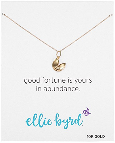 (ellie byrd 10k Yellow Gold Fortune Cookie Pendant Necklace,)