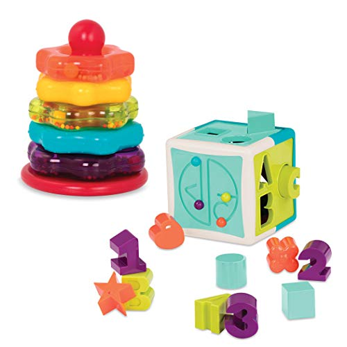 Battat - Stacking Rings + Shape Sorter Cube Bundle - Learning Toys for Kids Age 1 & Up (20 Pc)