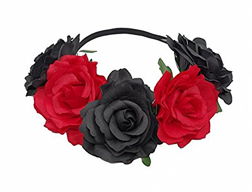 CoCoHe Rose Flower Crown Headband Hair Wreaths for Wedding Festivals Holiday (Black and Burgundy)