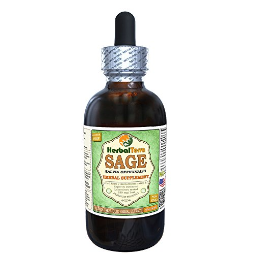 Sage (Salvia Officinalis) Glycerite, Organic Dried Leaves Alcohol-FREE Liquid Extract 2 (Heartburn Control)
