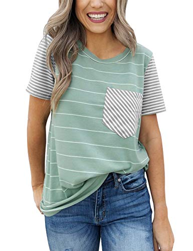Relaxed T-shirt Crew Love (MEROKEETY Women's Summer Striped Short Sleeve Contrast Color Casual T-Shirt Tops with Pocket)