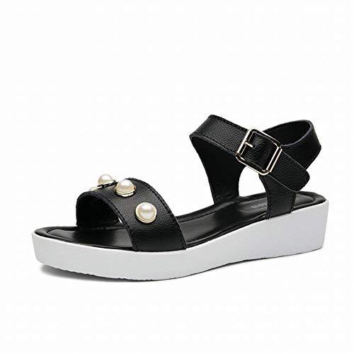 Grains Tout Des uncoloréNoirTaille Chaussures Chaussant En en Sandales Cuir 36Noir Confortables Fuweiencore Élégantes dBeoCx