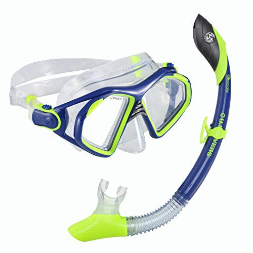 Island Dry Snorkel - U.S. Divers Admiral 2 LX/Island Dry Adult Silicone Mask Combo, Neon Blue