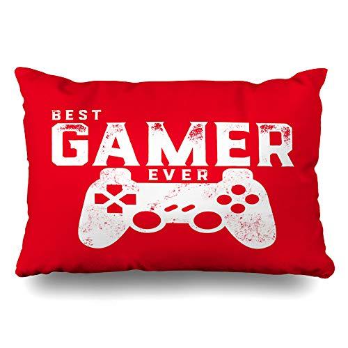 Ahawoso Throw Pillow Cover Pillowcase Best Gamer Ever for Video Geek Decorative Pillow Case Home Decor Queen 20x30 Inches Cushion Case