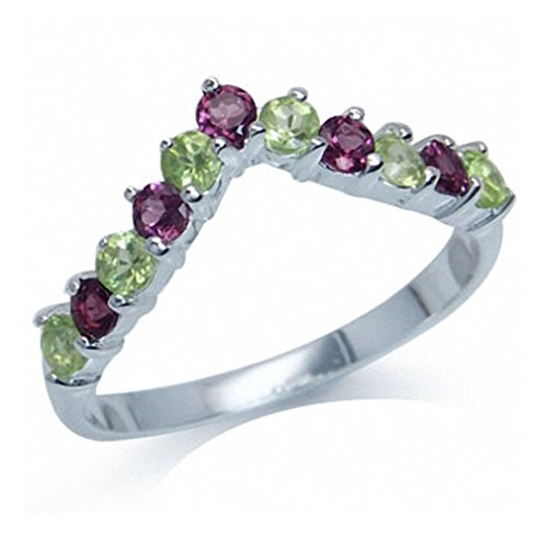 Natural Peridot & Rhodolite Garnet 925 Sterling Silver V-Shape Stack/Stackable Ring Size 5 -
