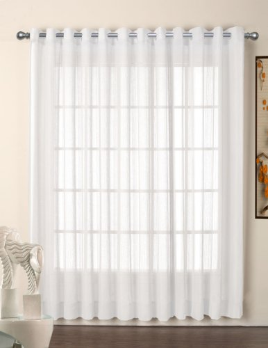 R.LANG Grommet Top Sheer Curtains Voile Window Panel 1 Pair White W52 x L108 (Set of 2 Panels)