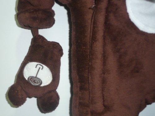 Baby Bear Microplush Snowsuit with Mittens for Newborn 0-3 Months Brown