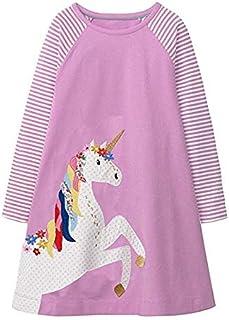 TO_GOO Kid Girl Cotton Long Sleeve Dress T-Shirt Dress Toddler Kids Baby Girls Sundress Lovely Jumper Skirt Animal Print Dress per 3-8 Anni