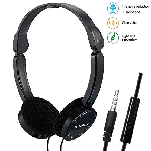 Wired Headphones on Ear Earphones Foldable Lightweight Headsets Noise Cancelling Stereo Headphones with Mic Volume Control 3.5mm Jack Kids Headphones for Children Boys Girls Adults Cell Phones Laptop