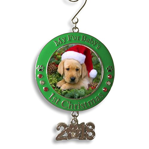 BANBERRY DESIGNS Pet's First Christmas 2018 - Photo Ornament with 2018 Charm and Engraved My Fur Baby's 1st Christmas
