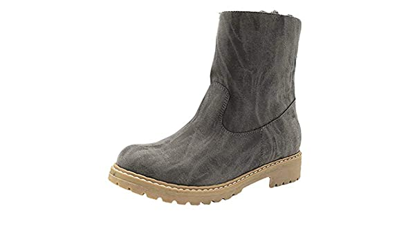 RBNB-bottes femme - Botas de Piel Lisa Mujer 41 gris: Amazon.es ...