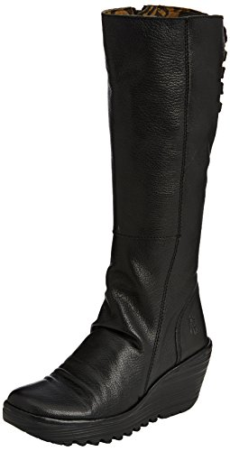 Womens Fly London Yust Casual Winter Wedge Heel Leather Knee High Boots - Black - (Leather Wedge Boot)