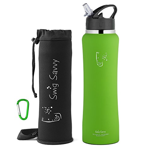Clip Water Bottle (Swig Savvy Stainless Steel Insulated Leak Proof Flip Top Straw Cap Water Bottles with Pouch & Clip, Light Green, 24oz)