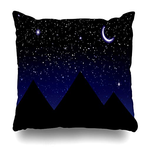 Ahawoso Throw Pillow Cover Blue Skyline Nights Sky Over Pyramids Egypt Crescent Ride in Moon Parks Black Cresent Glow Horizon Zippered Pillowcase Square Size 16 x 16 Inches Home Decor Cushion Case
