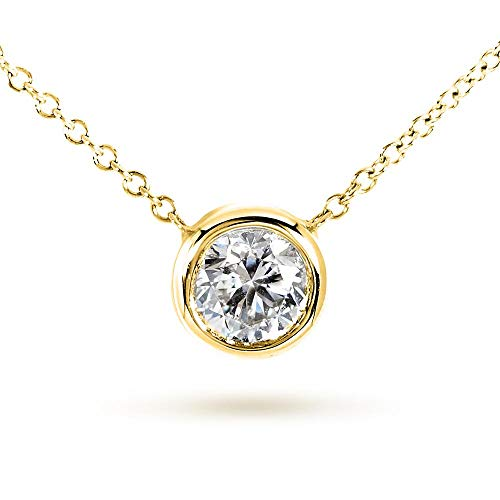 Round Bezel Moissanite Solitaire Necklace 14K Gold 16