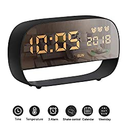 AURSEN LED Digital Alarm Clock, Touch Screen Multifunction Smart Alarm Clock with 3 Alarm Set Time Temperature Night Light Display,USB & Battery Powered Clock