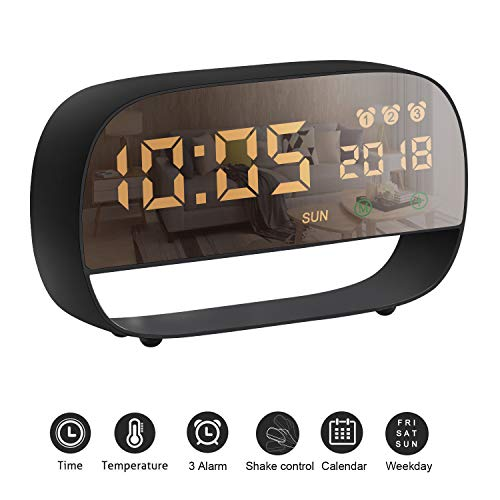 AURSEN LED Digital Alarm Clock, Touch Screen Multifunction Smart Alarm Clock with 3 Alarm Set Time Temperature Night Light Display,USB & Battery Powered Clock