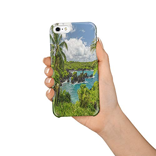 Durable Phone Case for iPhone 6/iPhone 6s, Hawaii Island Stylish Phone Shell Shockproof Protective Back Cover with Tempered Glass Screen Protector, Anti-Scratch