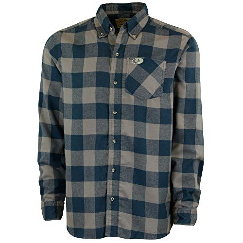 Mossy Oak Flannel Shirt for Men, Buffalo Plaid Long Sleeve Mens Flannel Shirts, Soft Flannels for men, a Traditional Look with New Age Comfort, Gray Buffalo Plaid, X-Large