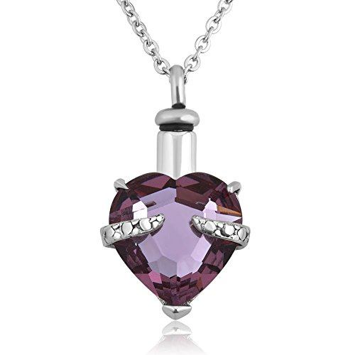 Lantern Low LuckyJewelry Light Purple Crystal Heart Cremation Urn Necklace for Ashes Memorial Keepsake Pendant