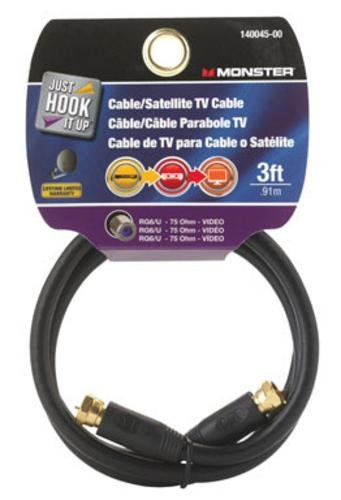 CABLE COAX RG6 3 BLACK by MONSTER JHIU MfrPartNo 140045-00