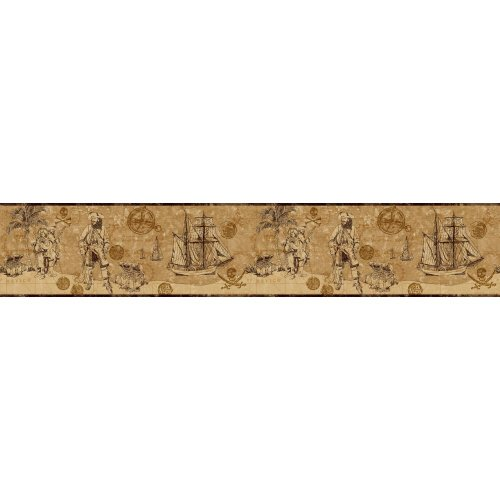 York Wallcoverings ZB3103BSMP Boys Will Be Boys II Pirate Map 8-Inch x 10-Inch Memo Sample Wallpaper-Borders, Bronze/Deep Golden Brown/Rich Cream