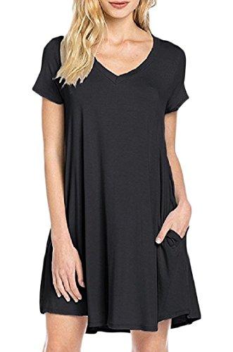 Women's Neck Comfort Coolred V Sleeve Color Dress Solid Black Short Soft 6x1qdwO1