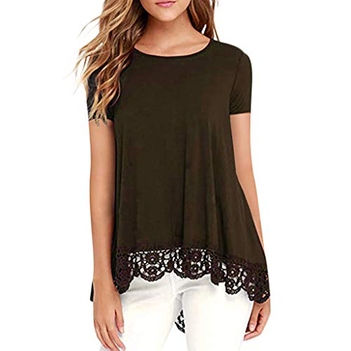 (Pengy Plus Size Women Strapless lace Stitching top T-Shirt Ladies V Neck T-Shirt Short Sleeve Casual Tops (2XL, A Coffee))