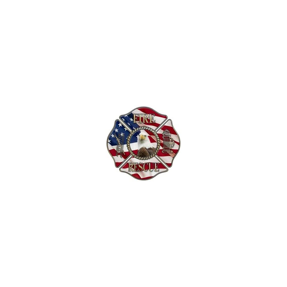Fire/Rescue Maltese Cross Decal With American Flag and Eagle   24 h   REFLECTIVE