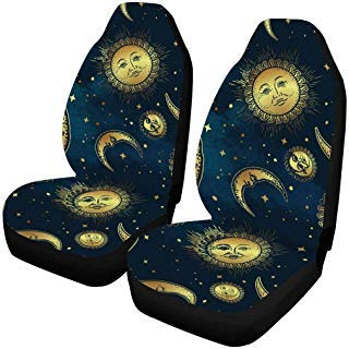 INTERESTPRINT Boho Celestial Bodies Gold Sun Moon and Stars Front Car Seat Covers Set of 2, Vehicle Seat Protector Car Mat Covers, Fit Most Vehicle, Cars, Sedan, Truck, SUV, -