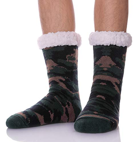 MSMETRO Christmas Gift Socks - Mens Boy Thick Cosy Soft Warm Fleece Thermal Fuzzy Winter Home Non Slip Socks Slipper Sock (Camouflage Color - Green) ()